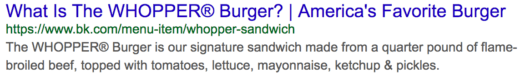What is the whopper burger meta tags