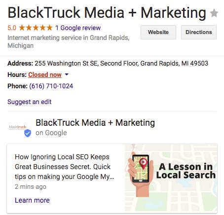 BlackTruck Google Posts Screenshot