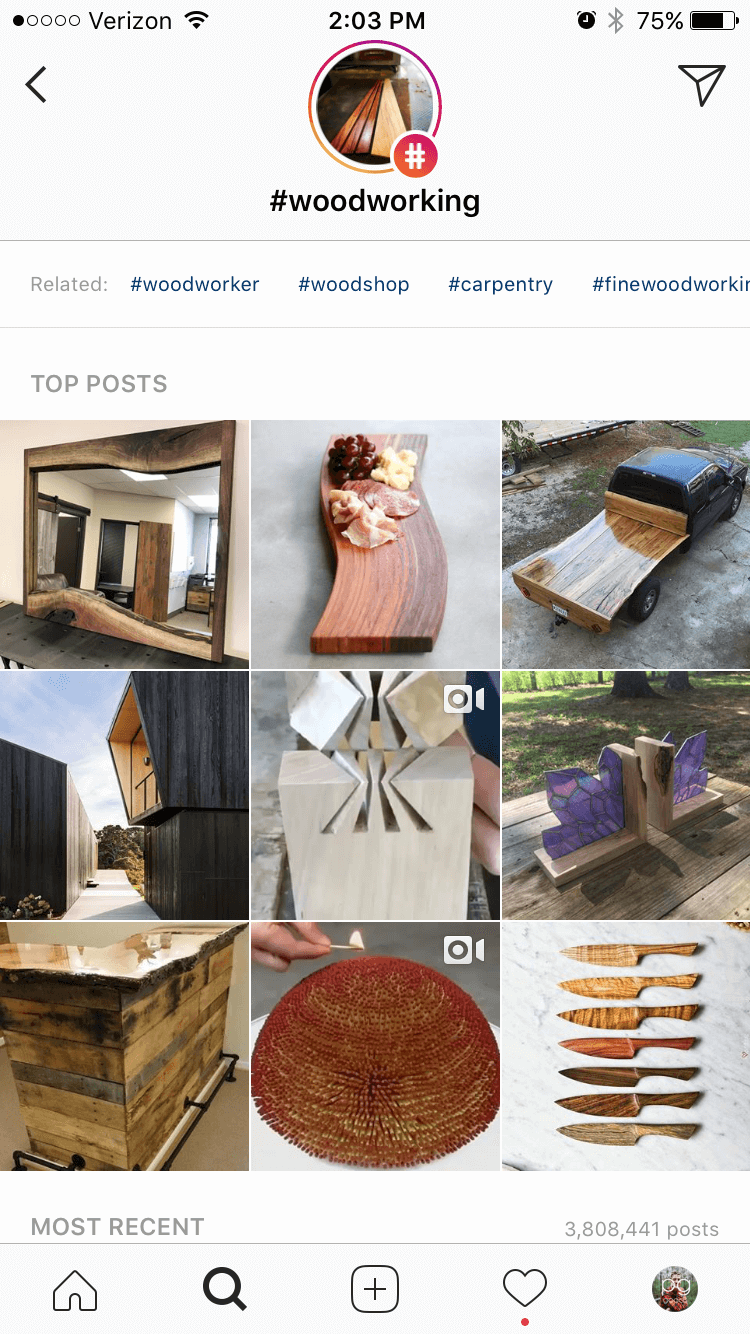 Woodworking Hashtag Feed