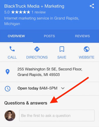Mobile Google business listing showing Questions and Answers feature