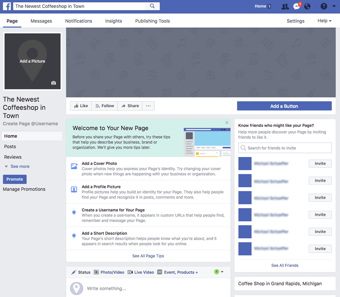 Screenshot - New Facebook Business Page