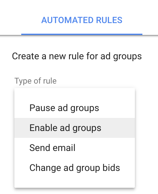 Google AdWords Automated Rules for Ad Groups