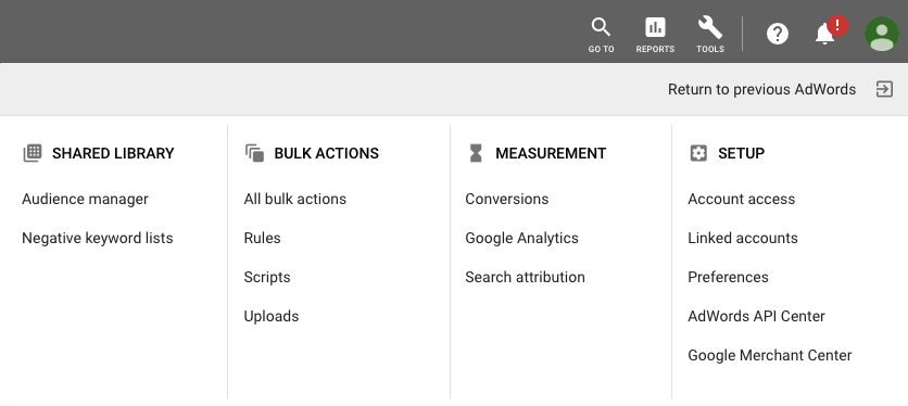 AdWords Menu