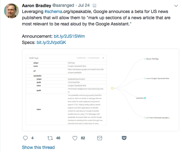 Tweet: Leveraging Schema Speakable from Aaron Bradley @aaranged
