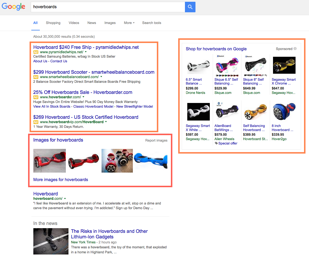 "Google Search Engine Results Page for ""hoverboard"""