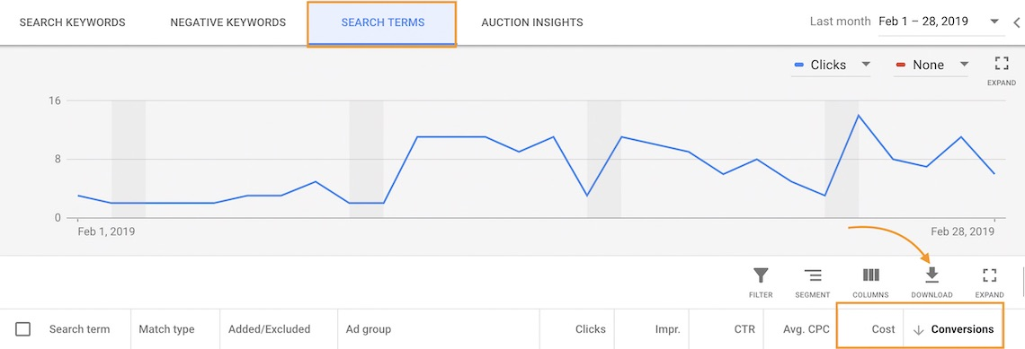 Google Search Terms Report View